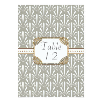 Table Number Art Deco Nouveau Modern Shell Pattern Card