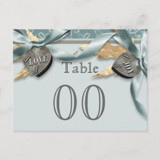 """""""Table number"""" blue grey country heart wedding Post Cards"""