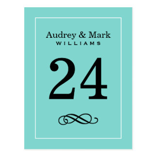 Table Number Card | Aqua Blue