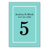 Table Number Card | Aqua Blue