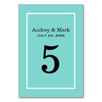 Table Number Card   Aqua Blue