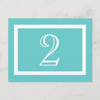 Table Number Card - Aqua - Customizable Postcard