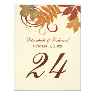 Table Number Card | Autumn Falling Leaves