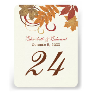 Table Number Card Autumn Falling Leaves