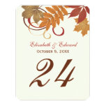 Table Number Card | Autumn Falling Leaves Personalized Announcements