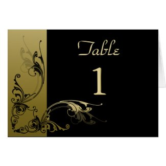 Table Number Card Black and Gold Effect Swirls card