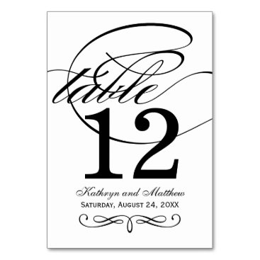 Plush_Paper Table Number Card | Black Calligraphy Design