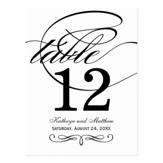 Table Number Card | Black Calligraphy Design