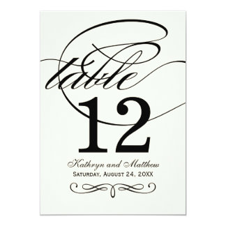 """Table Number Card   Black Calligraphy Design 5"""" X 7"""" Invitation Card"""