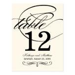 Table Number Card | Black Calligraphy Design Postcard