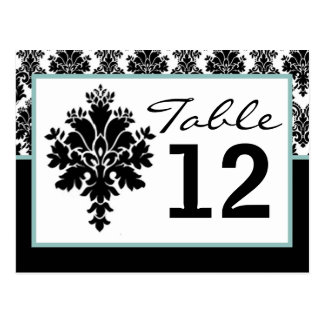 Table Number Card Black Damask Lace Print