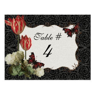 Table Number Card - Black n Cream Red Tulip Damask