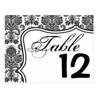Table Number Card Black White Damask Lace Print Pa Postcard