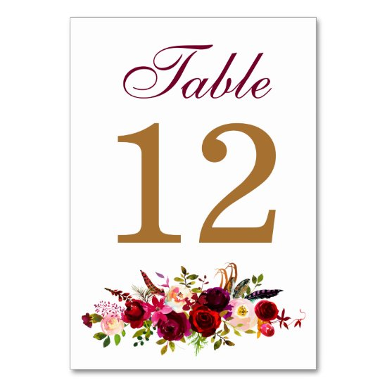 Table Number Card - Brugundy Florals