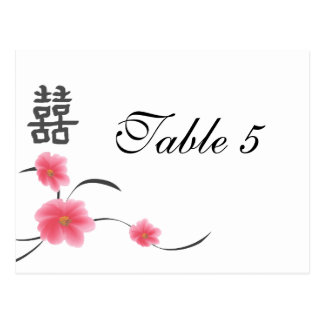 Table Number Card Cherry Blossom Double Happiness
