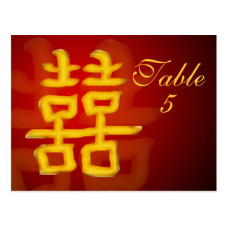Table Number Card Chinese Double Happiness