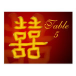 Table Number Card Chinese Double Happiness Postcards