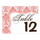 Table Number Card Coral White Damask Lace Print