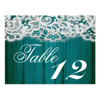 Table Number Card Distrissed Teal Wood Lace Postcard