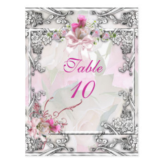 Table Number Card Elegant Wedding Pink Rose Postcard