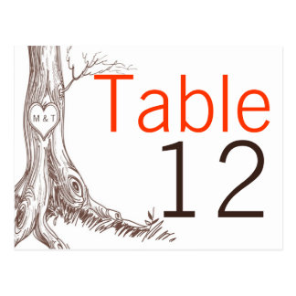 Table Number Card Fall Tree Initial Carvings Autum Postcard