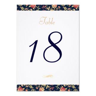Table Number Card for Elegant Blue Vintage Rose