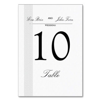 Table number card for weddings table cards