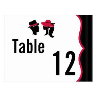 Table Number Card Formal Hats Elegant Retro Dress Postcard