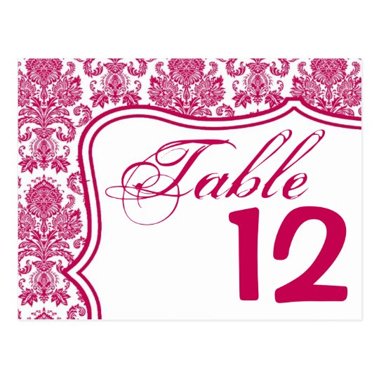 Table Number Card Fusia White Damask Lace Print Pa