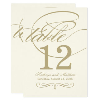 Table Number Card | Gold Calligraphy Design