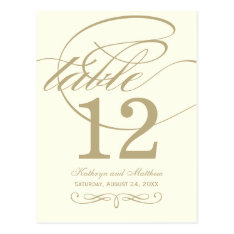 Table Number Card | Gold Calligraphy Design at Zazzle