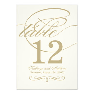 Table Number Card Gold Calligraphy Design