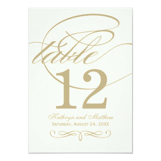 Table Number Card | Gold Calligraphy Design Personalized Announcements