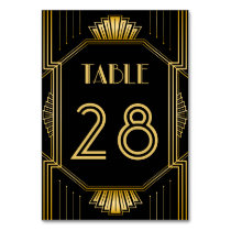 Table Number Card | Gold Gatsby Art Deco Pattern