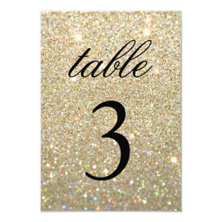 Table Number Card - Gold Glit Fab