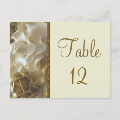 Table Number Card Gold Ivory Wedding Cake Roses Post Card by