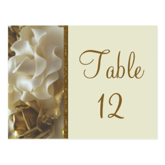 Table Number Card Gold & Ivory Wedding Cake Roses Post Card