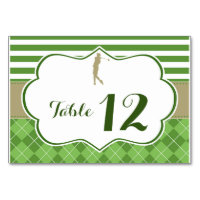 Table number card golf green gold