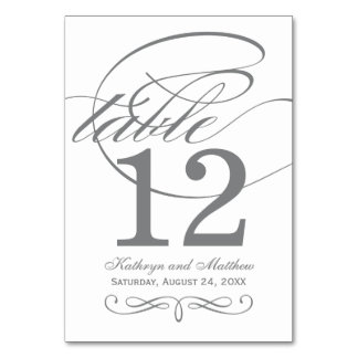 Table Number Card | Gray Calligraphy Design Table Cards