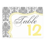 Table Number Card Gray Yellow Damask Lace Print Postcard
