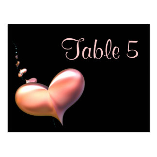 Table Number Card Heart Strings