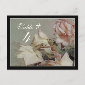 Table Number Card - Impressionist Cream Pink Rose postcard