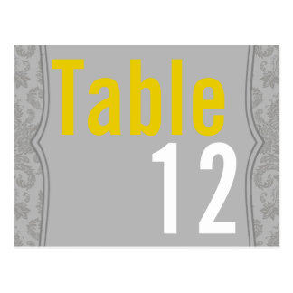Table Number Card Modern Gray Damask Lace Print Postcard