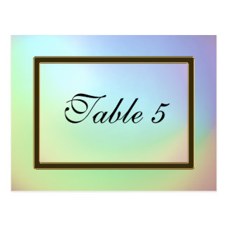 Table Number Card Opalescent Rainbow