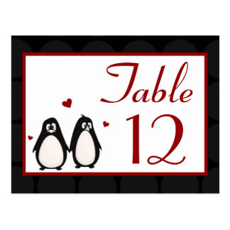 Table Number Card Penguin Love Couple Mate for Lif Postcard