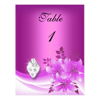 Table Number Card Pink Floral Diamond Jewel Postcard