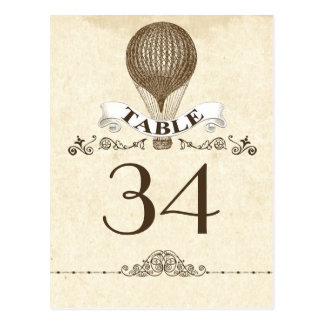 table number card - postcard with hot air balloon