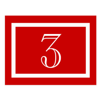 Table Number Card - Red - Customizable Postcards