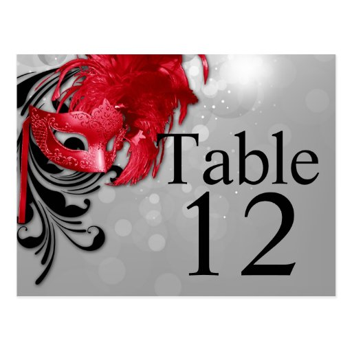 Table Number Card Red on Silver Masquerade