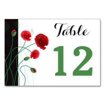 Table Number Card | Red Poppies | Double-Sided Table Card
